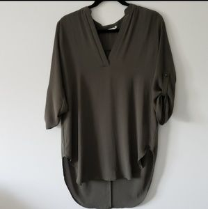 Lush EUC Olive  High/Low Sheer Top Size S